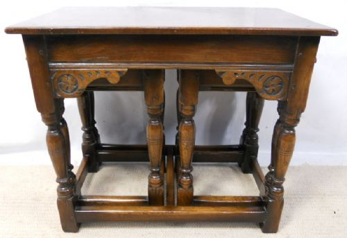 Oak Coffee Nest of Tables in Antique Style